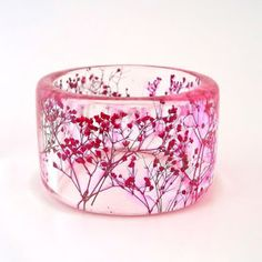 Chunky Bangle with Pressed Flowers. Custom Birth Gift Engraved Personalized by SpottedDogAsheville on Etsy Resin Ring, Resin Jewelry, Jewelry Crafts, Resin Crafts, Resin Art, Bangle Bracelets, Bangles, Jewelry Design, Unique Jewelry