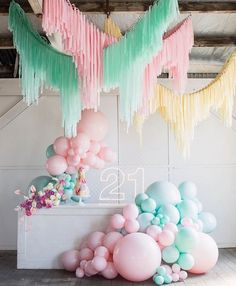 Balloons, neon and streamers. sounds like a PARTY 🎉 💥 Bangin Hangins Moonshot Balloons Little Pineapple Neon Pepper Sprout Hire Basia Puchalski Floral Design Shape Steel Mad About Cakes 21 Party, Party Time, Balloon Garland, Balloon Decorations, Birthday Party Decorations, 21st Party Themes, Streamer Wall, 21st Birthday, Girl Birthday