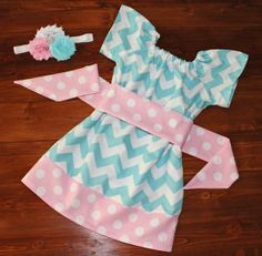 Girls Peasant Dress in Bright Blue Chevron and Pink Polka Dot  - Available in Sizes 3M - 5T on Etsy, $31.95