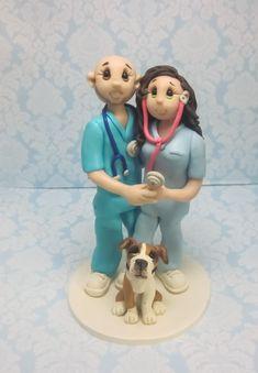 Custom Wedding Cake Topper for Nurses by lynnslittlecreations on Etsy