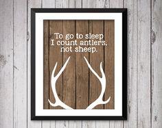 To go to sleep, I count antlers not sheep, Wood Deer Antlers Silhouette Prints,  Deer Antler Prints, Rustic nursery decor, deer print