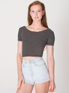 Stripe Cotton Spandex Jersey Crop Tee | Short Sleeves | Women's Crop Tops | American Apparel #vcukwearyourwardrobe