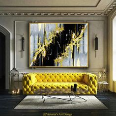 Oil Painting, Original Oil Painting Abstract Modern On Canvas Golden Leaf Large Wall Handmade Art by Victoria's Art Design Decor, Decorating Your Home, House Design, Luxury Living Room, Interior Design, Home Decor, House Interior, Room Decor, Large Wall Art