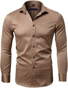 Hokny TD Mens Business Embroidery Shirts Slim Fit Long Sleeve Button Down Shirts