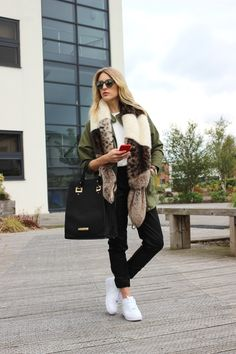 Styling a Helen Moore Mutli Vixen Scarf with leather joggers, nike Air Force ones and a Military Vibe Jacket. Full post on Lurch Hound Loves.com