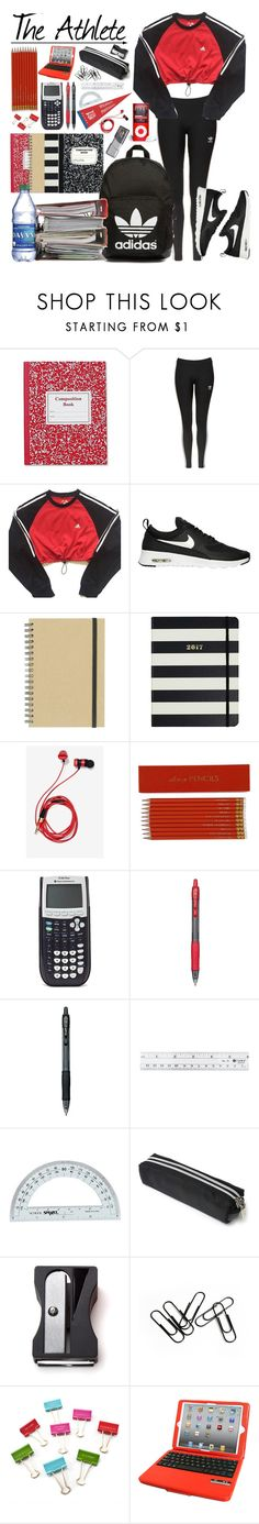 """""""Back to School: The Athlete"""" by dn8-35 ❤ liked on Polyvore featuring Topshop, adidas, NIKE, Paperchase, Kate Spade, adidas Originals, GE, Sloane Stationery, Pilot and Monkey Business"""