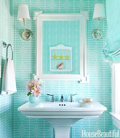House of Turquoise: Mona Ross Berman. I love the wallpaper, but the sconces are too high. Retro Beach House, Chic Beach House, Beach House Decor, Home Decor, House Of Turquoise, Turquoise Room, Turquoise Cottage, Yellow Turquoise, Orange Yellow