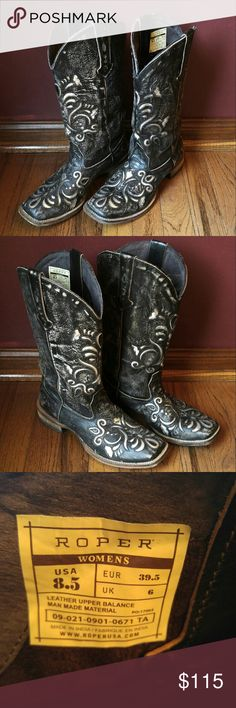 Cowgirl Boots These square-toed ladies boots have only been worn a few times and are in fantastic condition. They're a rustic shade of gray with silver accents. Roper Shoes