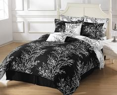 black and white comforters | 8pcs Reversible Black White Tree Bed in a Bag Comforter with Sheet Set ...