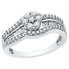 1/2 CT. T.W. Round and Baguette Diamond with Prong and Channel Set Fashion Ring in 10K White Gold