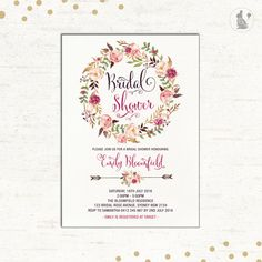 Floral BRIDAL SHOWER Invitation. Watercolor Flower Wreath Wedding Invitation. High Tea Baby Shower. Shabby Chic Shower The Bride Invite