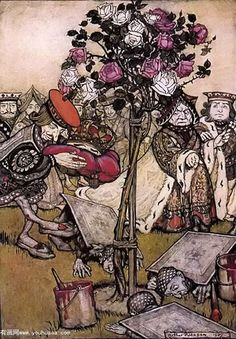 Alice in Wonderland the Queen's croquet ground by Arthur Rackham, 1907