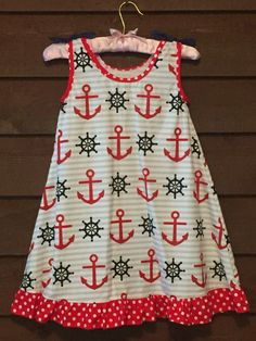 White and Grey Striped Girls Dress with Red by SimplyStitchedbyMKM