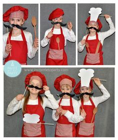 chef photo props / baking photo props / cooking photo props Invite Me To Party: Triplets Masterchef Party / Cooking Party / Baking Party