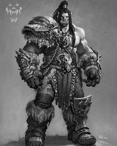 concept art ufficiale di Grom Hellscream per il film di Warcraft.  Artista: Wei Wang
