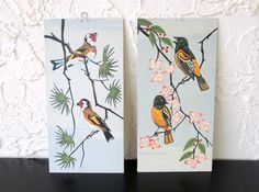 Feathered Friends Craft Master 1963 Birds Pair of Mid Century Vintage Paint by Number PBN Unframed Paintings AtomicPutz.com
