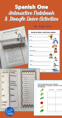 I love how Interactive and Digital Notebook Activities engage students and keep them organized. Because they are hands-on and use a ton of visuals, all students are on-task and learning. Most activities start with recognition and progress to student production. Includes 70 activities: alphabet; commands; days, weeks and months; tú,Ud., Uds., greetings, numbers, verbs, classroom objects, subject pronouns, and much more. I'm out of room! Click here to see what else is included.