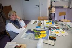 Malkurs – Chrysanthemen Aquarelle   Malen macht Spaß – Aquarellkurs an der VHS Rostock (c) Frank Koebsch
