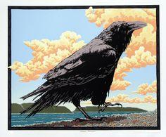 Beach Patrol by Steve Harmston Blackbird Singing, Quoth The Raven, Raven Art, Greek Culture, Crows Ravens, Silk Screen Printing, Bird Art, Deities, Spirit Animal