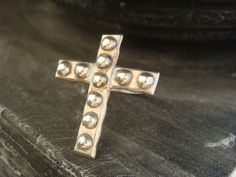 Silver Cross Ring Gothic Medieval by JennKoDesign on Etsy