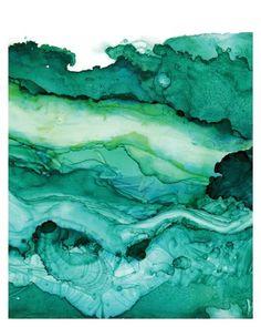 Undercurrent Emerald Ink: Art Print, Ocean Art, Surf Watercolor, Abstract…