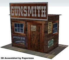 Western Gunsmith for Diorama Free Paper Model Download