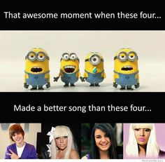 """that awesome moment when these four made a better song than these four """"babababananana!""""-despicable me 2"""