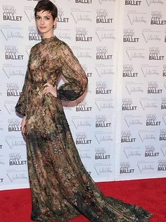 Anne Hathaway, New York City Ballet Fall Gala - I love Anne's pixie cut, but her floral, olive green, see-through, balloon armed dress is just way too much. The whole outfit is Les Miserables.