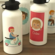 Olliegraphic water bottles featuring your little boy or girl! This personalized aluminum sports water bottle is a great gift for active kids. No more confusion or fighting over whose bottle is whose.