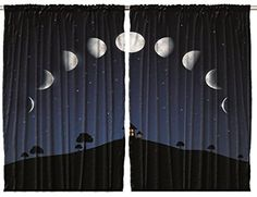 Phases of the Moon Cosmic Cosmos 108 X 63 Inches - Kids / Youth Room / Bedroom / Living Room Curtains 2 Panels Set One of a Kind Machine Washable
