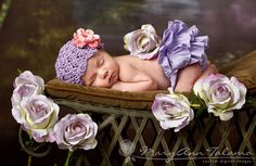 NEWBORN Baby Girl Hat, Baby Girl Beanie, Crochet Flapper Hat, Lavender, Rose and Pink Flower. Professional Photo Props. Baby Gift, Kids.. $20.00, via Etsy.