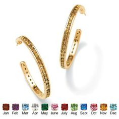 Round Simulated Birthstone 14k Yellow Gold-Plated Channel-Set Hoop Earrings- November- Simulated Citrine Palm Beach Jewelry. $29.95. Save 36% Off!