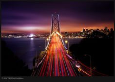 """""""San Francisco / USA / 2010"""" from 500px.com . Spectacular display of lights from the traffic to the vibrant sky"""