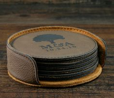 personalized round leather coaster set set of 6 made of 4 mm