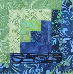 Very cute log cabin block using Hoffman Bali Batiks! Visit HoffmanFabrics.com to see which batiks are current.