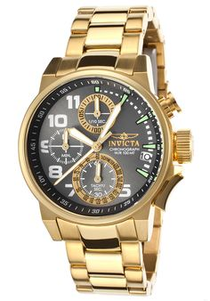 Invicta 17425 Watches,Women's I-Force 18K Gold Plated Steel Gunmetal Dial, Casual Invicta Quartz Watches