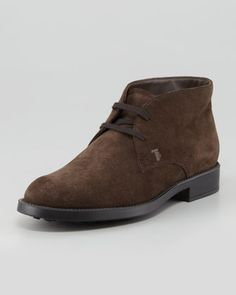 Suede Lace-Up Chukka Boot, Brown  by Tod's at Bergdorf Goodman. $495.00