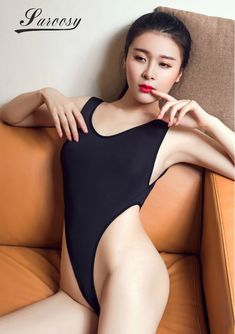 4f57bead497 2017 New Sexy Lingeire for Women Black High Cut Bodysuit Hot Thin Soft  Fiber Sheer See Through and Thong Crotch Detail