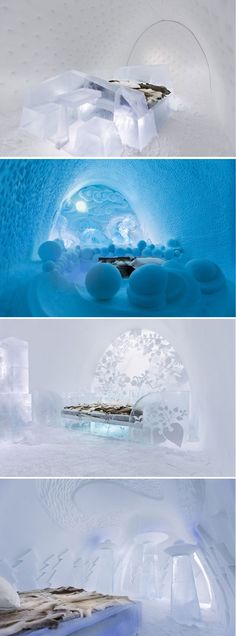 """""""Ice Hotel"""" in Jukkasjärvi Sweden. Using only frozen water from the Torne River, these pictures are of some of the Art Suites."""