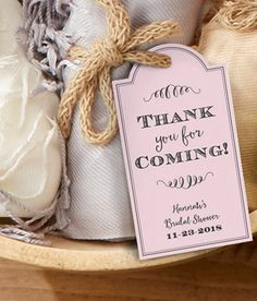 with an included elastic cord the statement tags can be attached to bridal shower favors