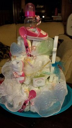 Deco mesh diaper cake- Made by Denise