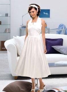 1950s White Halter Vintage Satin Swing Wedding Dress #wedding #wedding_dresses #short #lovely #bride #bridal_dresses