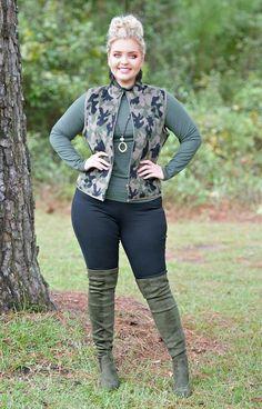 Hiding In Plain Sight Camo Vest – Perfectly Priscilla Thick Girl Fashion, Plus Size Fashion For Women, Curvy Women Fashion, Plus Size Women, Womens Fashion, Curvy Outfits, Plus Size Outfits, Trendy Outfits, Fashion Outfits