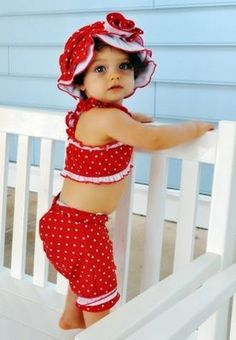 1920's Inspired Red Polkadot Swimming Suit 24 Months and 2T ONLY