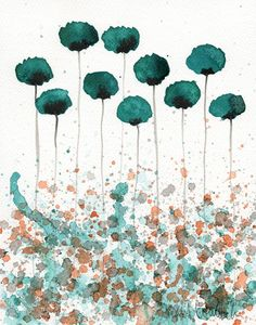 Watercolor Painting: Watercolor Flower Painting — Art Print —  Here You Are — Teal Flowers — 8×10