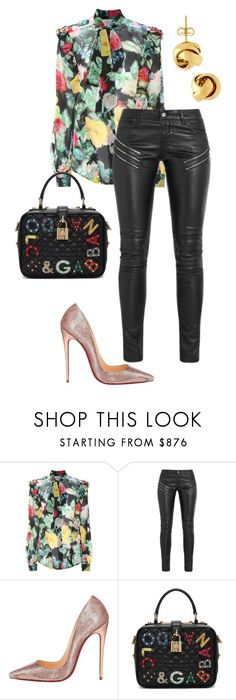 """Untitled #353"" by ilich-moreno ❤ liked on Polyvore featuring Preen, Yves Saint Laurent, Christian Louboutin, Dolce&Gabbana and Lord & Taylor"