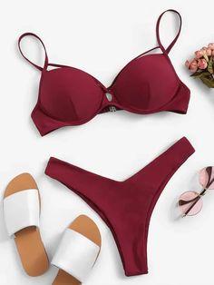 Shop Criss Cross Underwire Top With High Leg Bikini online. SHEIN offers Criss Cross Underwire Top With High Leg Bikini & more to fit your fashionable needs. Bandeau Bikini Set, Bikini Beach, Bikini Swimwear, Sexy Bikini, Women's Bikinis, Bikini Dress, Summer Bikinis, Swimwear Fashion, Cute Swimsuits