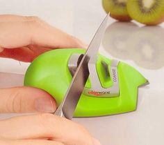 The Edgeware Green Edge Grip Sharpener is a must have tool for any Chef's knife kit. This manual sharpener will help keep your knives in top form and won't break the bank - $5.99.