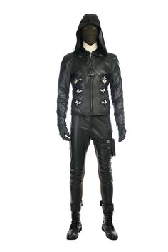 Green Arrow 5 Prometheus Cosplay Costume Leather Full Suit Any Size lot
