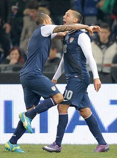 Clint Dempsey after the game winning goal.  USA vs. Italy February 29, 2012